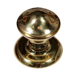 Round Centre Door Knob Polished Brass