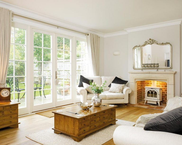 Living Room Log burner french doors