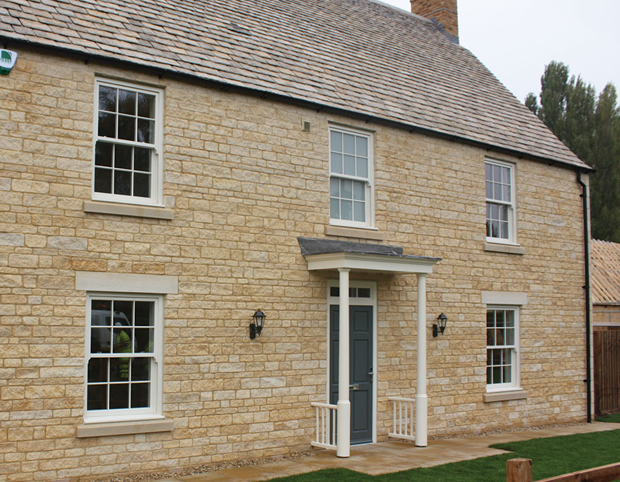 Bespoke front door and sliding sash timber windows - Seagate Homes