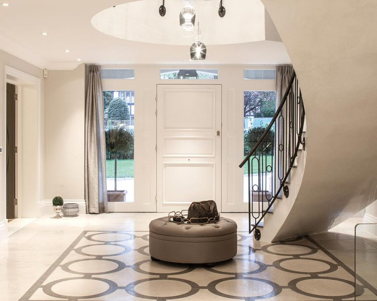 large bespoke front door and sidelights internal view