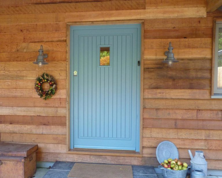 Blue wooden front door