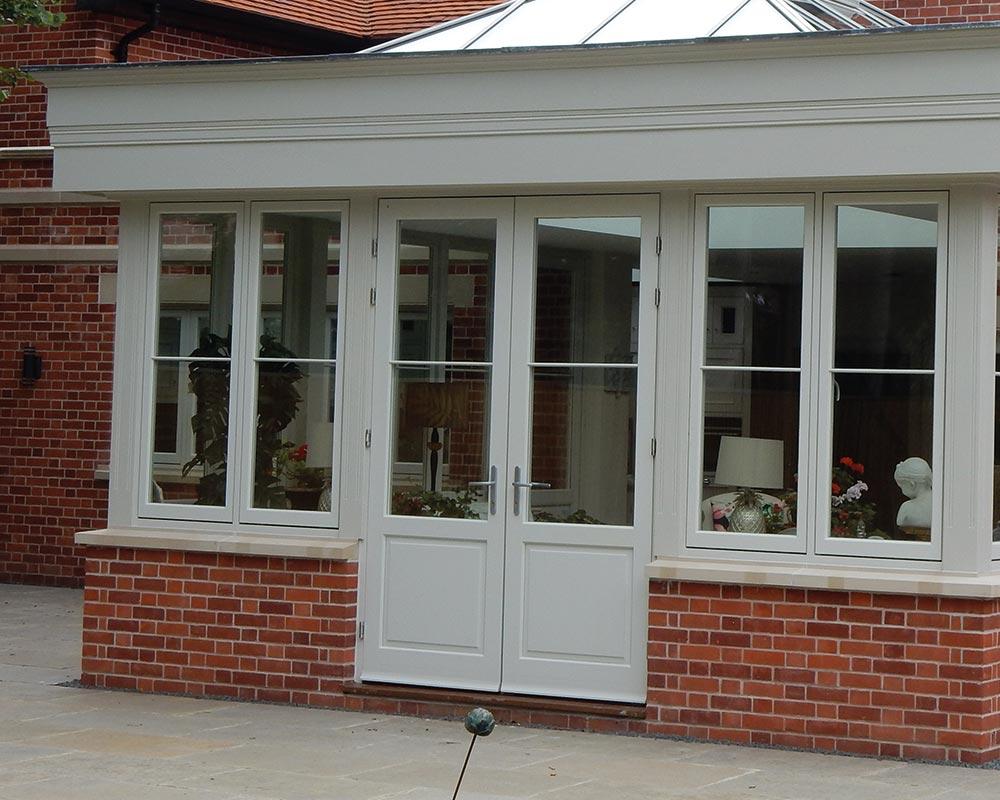 Flush french doors and flush casement windows conservatory