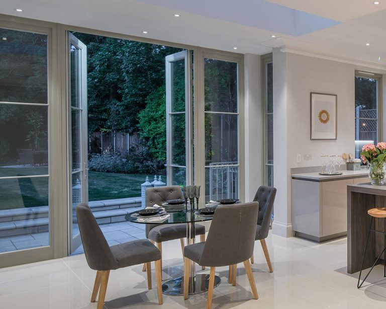 contemporary french doors in grey