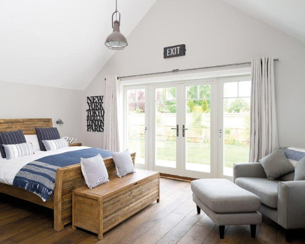 modern bedroom with french doors